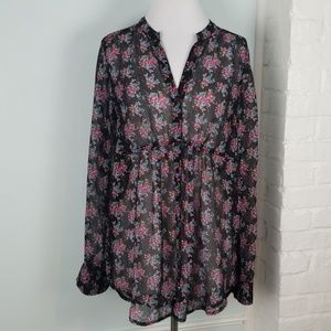 Express sheer floral blouse